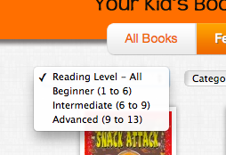 Filter the library by reading level to find books appropriate for your children.